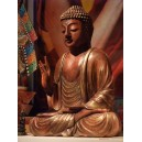 Bouddha statue meditating, hand sign of benediction